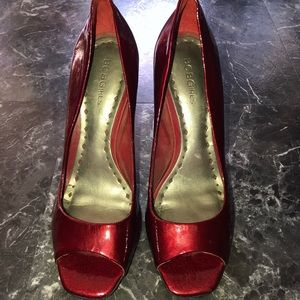 BCBG Red Peep Toe Heels